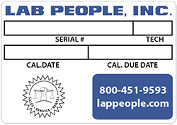 Lab People Weighing Equipment Calibrations Label