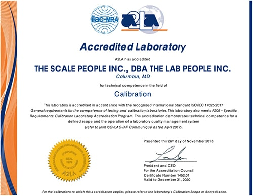 The Lab People, Inc. Calibration Certificate